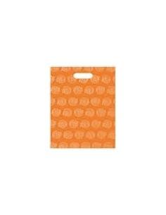 Bolsa Asa Troquel Impresa en Color Naranja de 18 x 30 cms