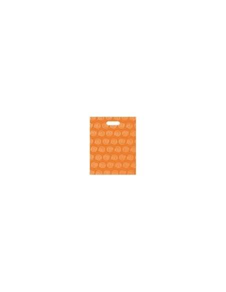 Bolsa Asa Troquel Impresa en Color Naranja de 30 x 40 cms