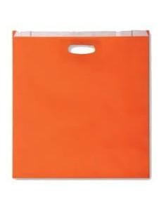 Bolsa de Papel Asa Troquelada Color Naranja 24 + 7 x 37
