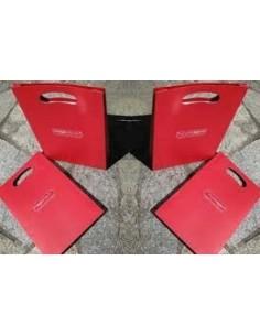 Bolsa Papel Asa Troquel Roja 24 + 7 x 37 Personalizada .