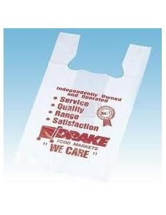 bolsa camiseta blanca biodegradable, Impresa medida 35 x 50